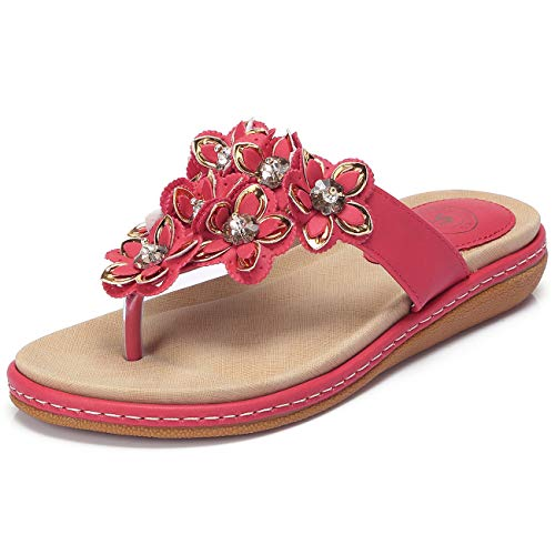 CAMEL CROWN Women's Bohemia Beach Summer Flat Sandals T-Strap Beaded Dress Thong Flip Flops Comfortable Slip On Casual Shoes Red ()