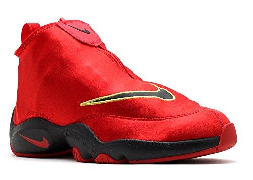 Nike Men's Air Zoom Flight The Glove Unvrsty Rd/Blk/Drk Gry/Tr Tllw Basketball Shoe 9.5 Men US (Nike Zoom Flight Basketball Shoes)