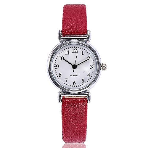 ManxiVoo Women's Digital Dial Analog Quartz Bracelet Watch Casual Leather Band Wristwatches (C)