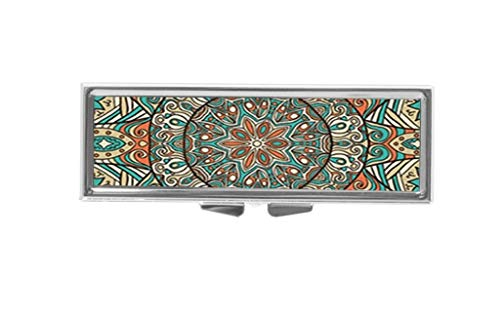 Aaron Melvin Floral Mandala Art Pattern 3-Compartment Decorative Pocket Gift Box Case Organizer for Pill Box