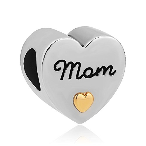 DemiJewelry Gold Plated Heart I Love You Mom Charms fit Charm Bracelet
