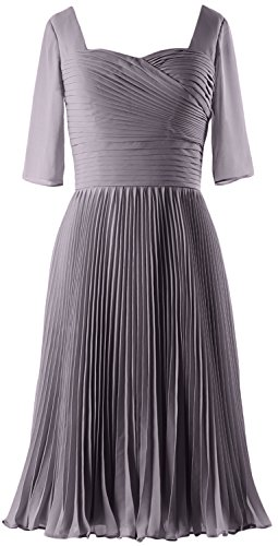 Of Bride Macloth Dress Formal Women Mother Chiffon Half Sleeves Pewter Gown Cocktail IqXwCxXTFr