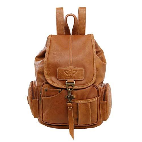 - Women Leather Backpack Purse Teen Girls Travel Drawstring Rucksack Vintage Style Ladies Daypack College School Bag (Light Brown)