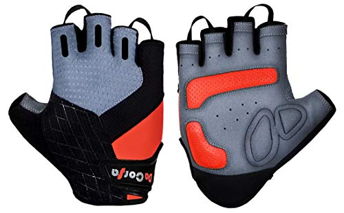 Da Corsa Fingerless Sport Cycling Gloves - Breathable Anti-Slip Bike Gloves for Both Mountain Biking - Downhill Biking - City Bike - Best Half Finger Shock Absorbing Riding Gear (Red/Grey, X-Large) from Da Corsa
