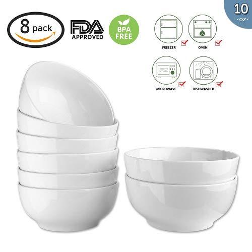 (10-Ounce Porcelain Bowl Set,Soup Bowl Set,Dinner Set for Cereal, Soup 8 Packs,White,4.5 Inch)