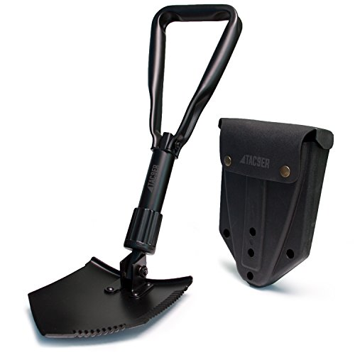 TAC9ER Collapsible E-Tool Shovel - Portable, Metal, Folding, Tactical Military Shovel with Serrated Steel Blade and Carrying Case for Camping, Backpacking, Gardening, and Survival by TAC9ER (Image #7)