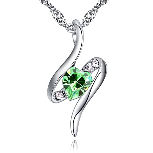 EXQUISITHEART ''Eternal Love'' Silver Necklaces for Wife for Girlfriend for Women,Green Love Heart Swarovski Crystals Fashion Teen Valentines Jewelry Wedding Pendant 15.7''+2'' Extender