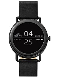 'Falster' Quartz Stainless Steel and Leather Casual Watch, Color:Black (Model: SKT5001)