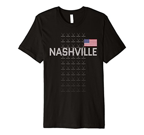 fan products of Nashville Hockey T Shirt Fan Clothing Adult Teens USA Flag