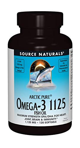 Source Naturals ArcticPure Omega-3 Fish Oil 1125mg Ultra Potency Maximum Strength EPA + DHA For Heart, Joint, Brain & Immune Health - 120 Softgels