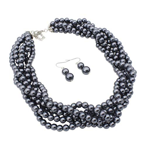 (Lanue Multilayer Strand Faux Pearls Beads Cluster Choker Necklace and Earrings Set (Grey))