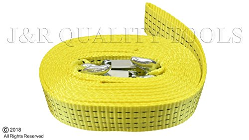 "10,000 LB Heavy Duty Tow Strap with Safety Hooks 2"" x 20' Polyester Superior Strength by Vector Tools"