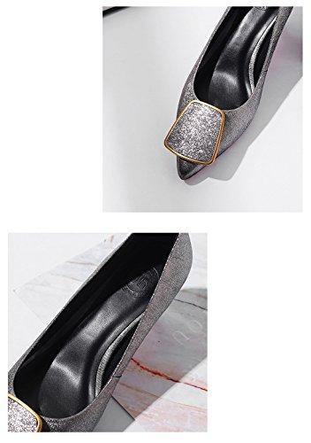 36 Cuir en Chaussures Profonde Femmes Bouche l'Amérique et l'europe Simples Printemps l'été Le Peu véritable pour Couleur LBDX et Pointues Chaussures Rose Mode Gris Moyen Taille Rouge Talon x1YwOF6nwq