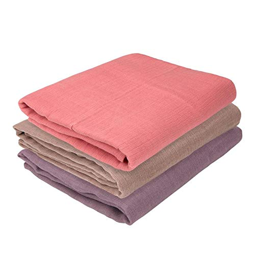 Oliver & Rain Baby Swaddle Sampler - 3-Pack Newborn 100% Organic Cotton Muslin Swaddle Blankets in Solid Coral, Mauve and Taupe