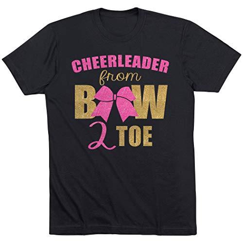 (Cheerleader From Bow 2 Toe T-Shirt | Cheerleading Tees by ChalkTalk SPORTS | Black | Youth)
