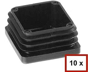 vallas protectores de muebles Negro 10 tapones cuadrados de tubo tapones de l/áminas de 80 x 80 mm para diferentes grosores de tubos de pared de 1,5 hasta 2,5 mm; 3 hasta 4 mm; 5 mm postes