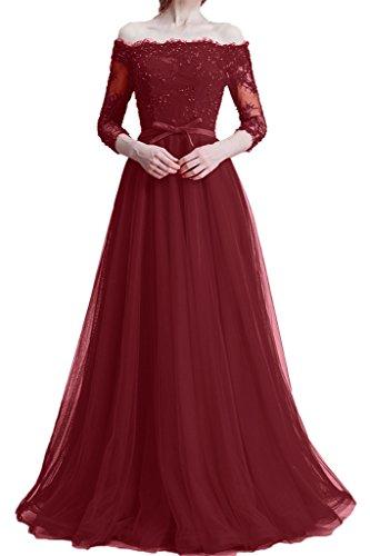 ivyd ressing Mujer zaertlich 3/4aermel U de recorte Punta & tuell Fiesta Vestido Prom vestido fijo para vestido de noche borgoña