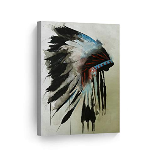 INDIAN WALL ART Native American Chiefs Headdress Feathered Watercolor Canvas Print Home Decor Decorative Artwork Gallery Wrapped Wood Stretched and Ready to Hang - %100 Handmade in the USA - 40x30