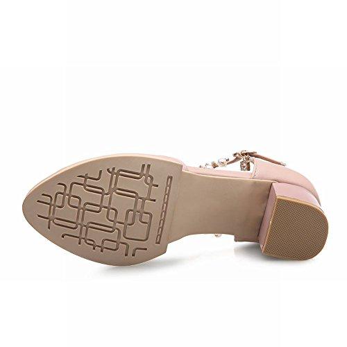 MissSaSa Damen Knöchelriemchen Chunky heel Pumps mit Strass und Perlen Schnalle Blockabstz runde Spitze Sandalen Pink