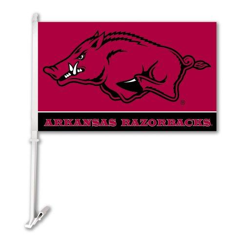 NCAA Arkansas Razorbacks Car Flag With Wall Bracket