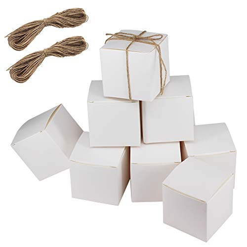 "100 Pack 3""x3""x3"" White Paper Gift Boxes with 2 Bundles of Twine for Gifts, Homemade Cupcakes, Crafts or Soap- Wedding Favor Boxes,Gift Boxes by -"