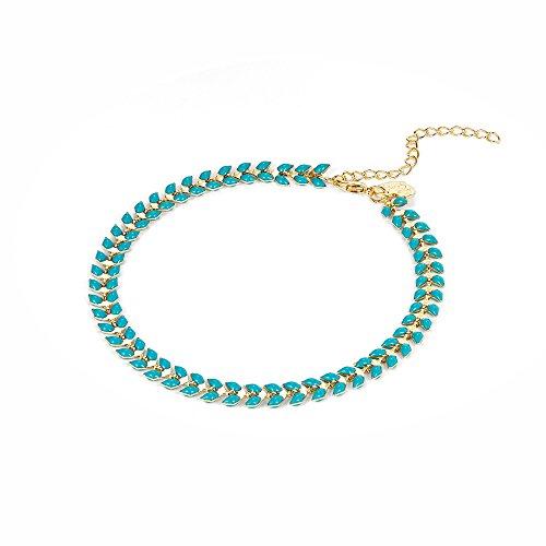 Fettero Ankle Bracelet for Women Handmade Beach Boho Foot Jewelry Green Enamel Arrow Chevron Fishbone Chain Anklet