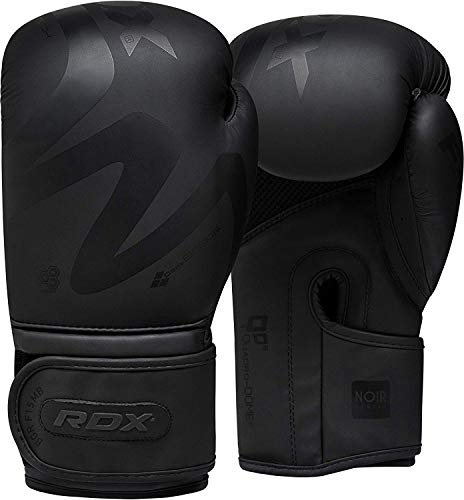 RDX Boxing Gloves for Training Muay Thai | Matte Black Convex Skin Leather Gloves for Sparring, Kickboxing, Fighting, Punch Bags and Focus Pads Punching ()