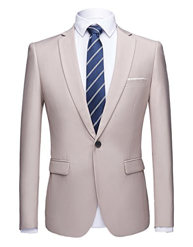 WULFUL Men's Suit Blazer Slim Fit One Button Casual Formal Suit Jacket Wedding Tuxedo by WULFUL