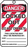 Accuform MLT407LTM HS-LAMINATE Lockout Tag, Legend''DANGER Locked Out Do Not Operate'', 5.75'' Length x 3.25'' Width x 0.024'' Thickness, Red/Black on White (Pack of 5)