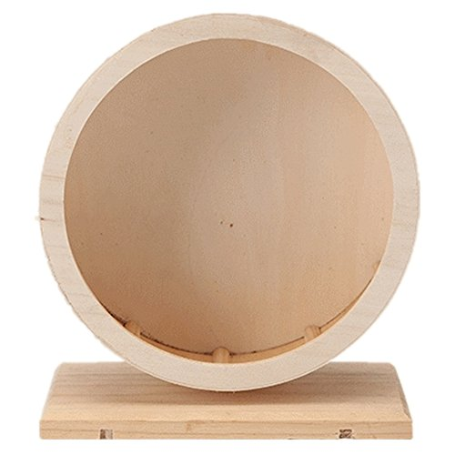 Bravefull Wooden Hamster Wheel Silent Exercise Running Wheels Small Animals Climbing House Pet Habitats Toys (Large, without dam-board)