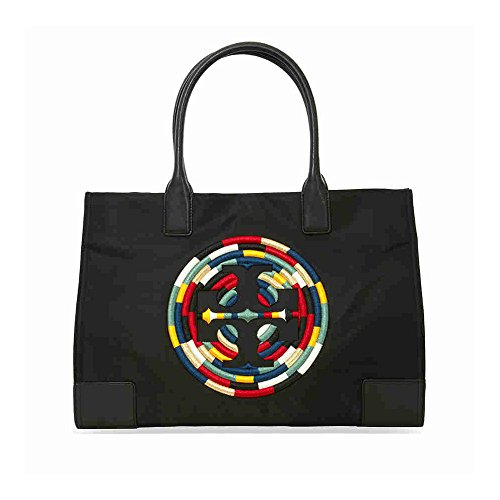 Tory Burch Women's Ella Nylon Nylon Top-Handle Tote (Embroidered Black) by Tory Burch