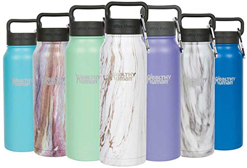 Healthy Human Insulated Stainless Steel Water Bottle Stein - Cold 24 Hours/Hot 12 Hours - Double Walled Vacuum Flask with Hydro Guide & Carabiner - 21 oz Stone Gold
