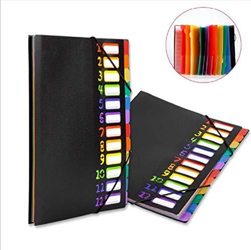 [해외]문서 파일 12 포켓 A4 파일 케이스 컬러풀 우편함 케이스 포켓 가방 클리어 파일 수납 서류 정리 파일 문구 류 (12 포켓) / Document File 12 Pocket A4 File Case Colorful Papercase Case Pocket Bag Clear File Storage Document Arrangement Fil...