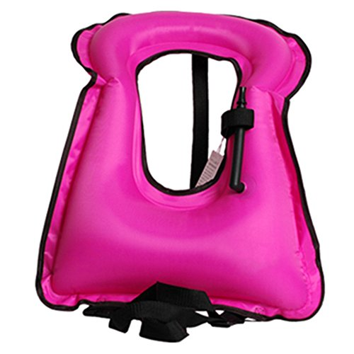 Isafish Portable Inflatable Life vest Safety Kayak Diving Life Jacket Bright Coloured Buoyancy Vest Snorkel Vest for Adult Kids Pink