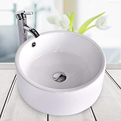 Bathroom Ceramic Vessel Sink Brass Faucet Combo Lavatory Modern Pop