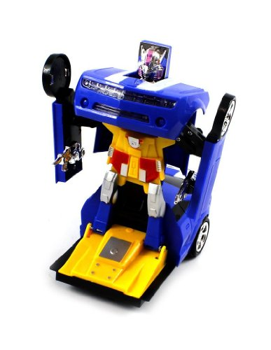 Velocity Toys Chevy Camaro SS Super Robot Electric Toy Figure Transforming, Bump 'N Go Action (Colors May Vary)