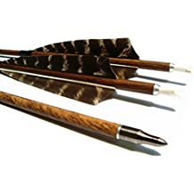 Letszhu Archery Carbon Arrows Wooden Grain Shaft 500 Spine with Feather Fletching for Hunting Target Shooting