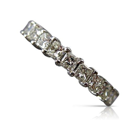 Milano Jewelers 2.50CT PRINCESS DIAMOND 14KT WHITE GOLD SHARED PRONG ETERNITY RING #20627 ()