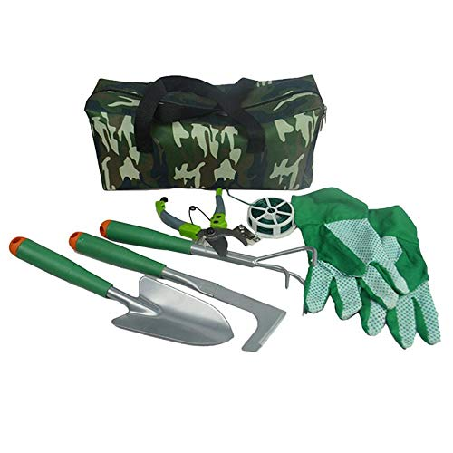 (Twinlight Tools 7pcs Gardening Tools Set Garden Gloves Plant Rope Trowel Pruners and More with Storage Tote)