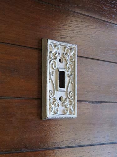 Single Light Switch Cover Switchplate Cast Iron Fleur de Lis Design Silver or Pick ()