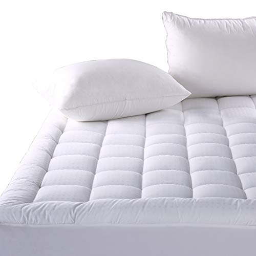- Balichun Fitted Quilted Mattress Pad Cover (8-21 Inch Deep Pocket) - Luxurious 300TC 100% Cotton Top - Storm Goose Down Alternative Filled - King Mattress Topper