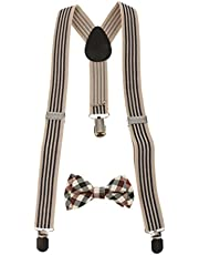 Prettyia Adjustable Suspender Clip-on Braces And Bow Tie Set For Baby Toddler Kid Boy