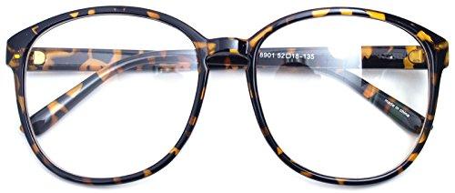 Oversized Big Round Horn Rimmed Eye Glasses Clear Lens Oval Frame Non Prescription (Leopard - Big Rounds