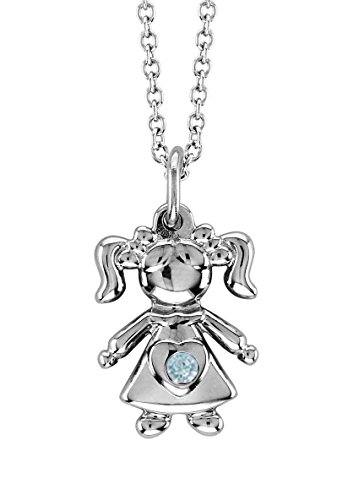 - Esty & Me Necklace with Swarovski Simulated Birthstone, Little Girl Pendant - March