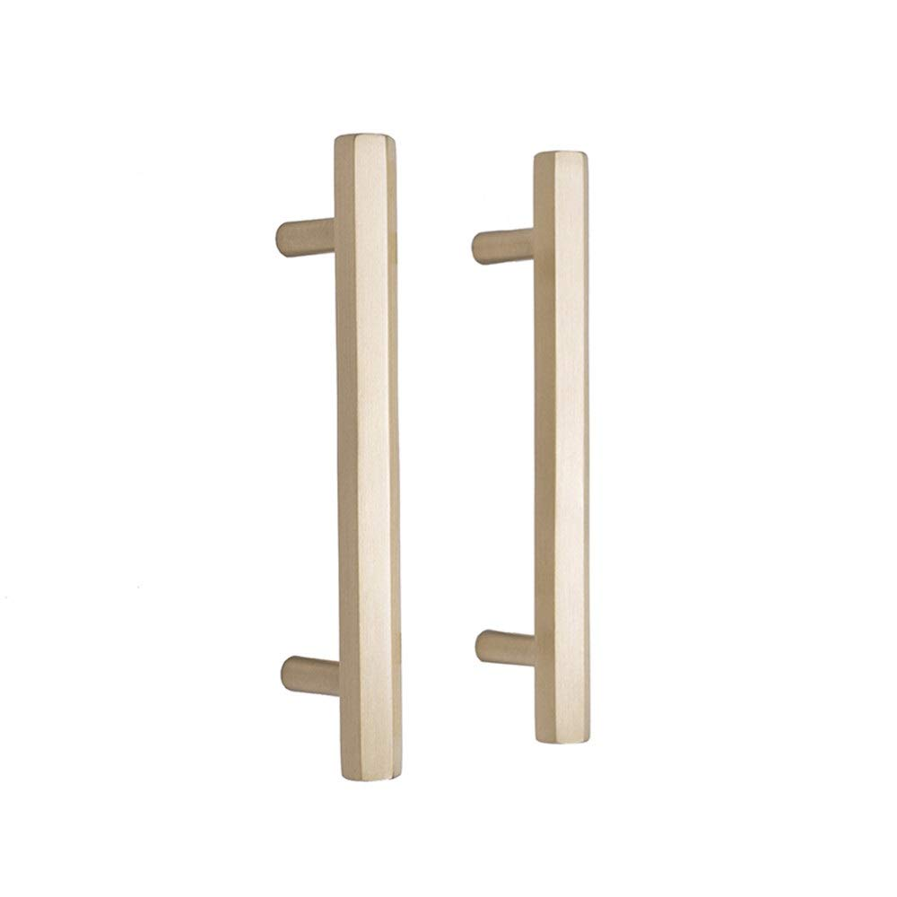 WUSHIYU Door Knocker Golden Pull Handles Sturdy Solid Brass T-Bar Handles, Handrail Grab Bar for Door Gate Garage Shed Pack of 2Pcs (Color : Golden, Size : 168mm33mm)