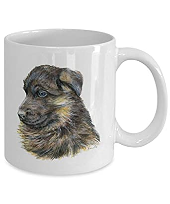 German Shepherd Puppy Dog Mug - Style No.3 - Cool Ceramic Alsatian Coffee Cup (15oz)