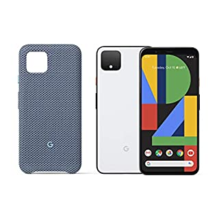Google Pixel 4 - Clearly White 128GB - Unlocked with Pixel 4 Case, Blue-ish