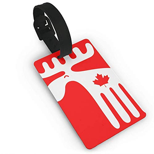 (SCcdyhlunsd Maple Leaf Of Canadian Moose Luggage Tag size 3.7in X)