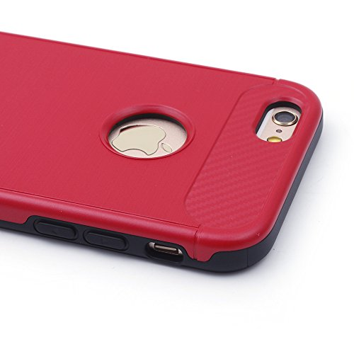 iProtect TPU Schutzhülle Apple iPhone 6 Plus, 6s Plus Carbon Case brushed rot