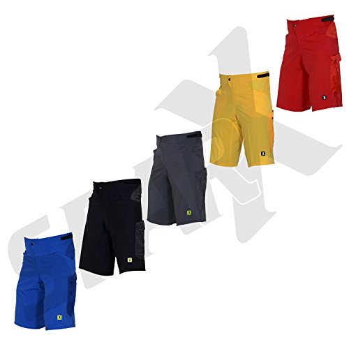 Mens Baggy MTB Mountain Bike Shorts With Removable Cycling Short Liner 3D Padded (Small 30-32